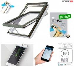 Dachfenster Fakro FTU-V U3 Wifi Uw=1,3 Schwingfenster Holz weiß lackiert wie Kunstoff erhöhter Feuchteresistenz