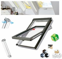 Dachfenster Fakro PTP U4 3-fach-Verglasung Schwingfenster Energiesparende Uw=1,1 Ug=0,7 W/m²K weiße,  innen mit verzinktem Stahlkern verstärkte Kunststoffprofile PVC Ohne Dauerlüftung  erhöhter Feuchteresistenz
