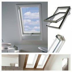 Dachfenster Fakro FTU-V U4 3-fach Verglasung Schwingfenster aus weiß lackiertem Holz PU-Kunststoff-Lack, Dauerlüftung V40P, topSafe-System Uw: 1,1 Polyurethan-Kunststofflack erhöhter Feuchteresistenz