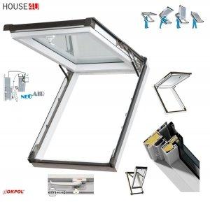 OUTLET: Dachfenster Okpol IGKV IGK E2 55x98 PVC Kipp-Schiebefenster Profile in Weiß - Öffnungswinkel bis 62° - Uw= 1,2 W/m²K / Ausstiegsfenster