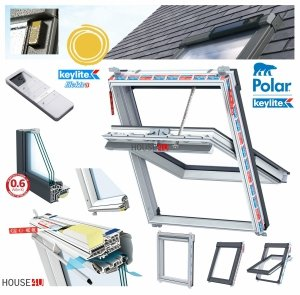 Elektro-Dachfenster Keylite PVC PCP KTG SPEK Solar Elektrofenster mit Handheld-Fernbedienu<br />ng mit 15 Kanälen 3-fach-Verglasung Uw= 1,0 Schwingfenster aus Kunststoff Weiß PVC mit Wärmedämmblock