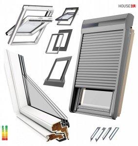 VELUX Dachfenster 3-fach Pakete-Set Uw=1,0 GLU Schwingfenster-Set aus Kunststoff: GLU 0064 + EDZ 2000 mit Solar-Außenrolllade<br />n Kompatibilität mit dem VELUX io-homecontrol® INTEGRA® System, Aluminium, Dunkelgrau inkl. Fernbedienung / Funk-Wandsc