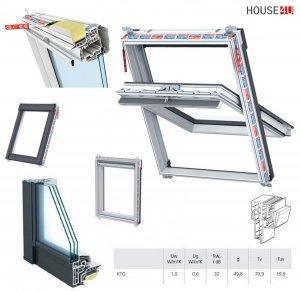 Dachfenster Keylite Polar PVC PCP KTG Schwingfenster aus Kunststoff mit Wärmedämmblock Weiß PVC 3-fach-Verglasung Uw=1,0 Krypton Triple Glass - KTG 3-Fach Verglasung, weiß Kunststoff, Fluchtwegsfenster 0 – 45 ̊ offen, Bad-Dachfenster