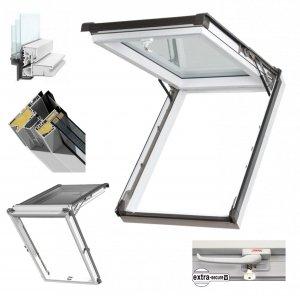 Dachfenster Kipp-Schiebefenster Okpol IGKV N22 Uw=0,86 3-Fach Verglsung / IGK I3 PVC Profile in Weiß - Öffnungswinkel bis 62° - Ausstiegsfenster