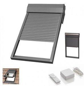 Außenrollladen elektrisch SHR Elektro-Rollladen Rooflite Aluminium Dunkelgrau incl. Steuereinheit mit Handsender (Funktion: Auf-Stopp-Zu) zur Ansteuerung eines Einzelmotors io-homecontrol ®- kompatibel für RoofLITE®, VELUX® FAKRO® , OpTILIGHT® Dachfenste