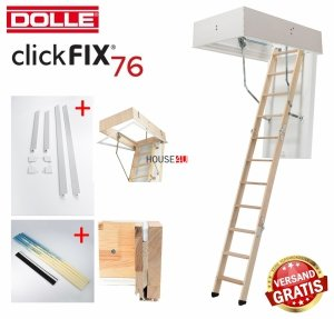 OUTLET: Bodentreppe Dolle ClickFIX 76 70x120 GOLD U= 0,49 Super-thermoisoliert<br />e Click-fix 3-teilig mit Handlauf Versand 48H