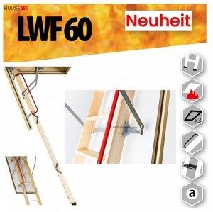 Bodentreppe FAKRO LWF 60 Feuerschutz Bodentreppe aus Holz Uw=0,64 W/m²K, Feuerhemmend und sicher im Brandfall - feuerhemmende Öffnungsklappe Feuerschutztreppe, für die Montage in Räumen, die besonders anfällig für Brände sind