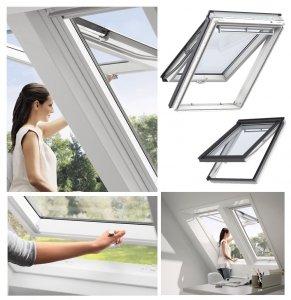 Dachfenster VELUX GPU 0050 Uw=1,3 Klapp-Schwingfenster Verglasungen Alternative für THERMO Kunstoff-Fenster mit Riesen-Öffnungswink<br />el Standard Verglasung