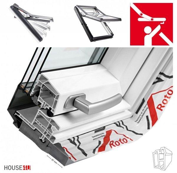 Dachfenster Roto Designo R7 Hoch-Schwingfenster R79 K 3-fach-Verglasung Uw-Wert 1,1 ENERGIE Kunststoff PVC mit Wärmedämmblock ... mehr als R78