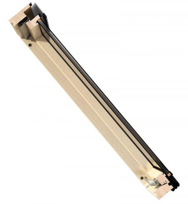 Dachfenster Okpol ISO E2 Schwingfenster Holz klar lackiert www.house-4u.eu