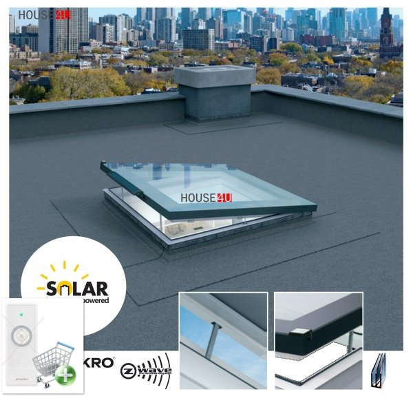 Solar-Flachdach-Fenster Fakro DEF DU6 Solar Elektrisch Gesteuert 3-fach Verglasung U=0,70 W/m²K *, Flachglassegment mit Regensensor, Weiß PVC-Rahmen, ohne kuppel, Verbundsicherheitsglas P2A, 2°-15° Grad, FlachGlass, Solar