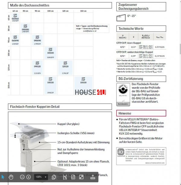 """VELUX FLACHDACH -Fenster """"Lichtkuppel"""" Matt Polycarbonat  ISD 0110-Typ CFP / CVP / CXP / CSP  www.house-4u.de"""