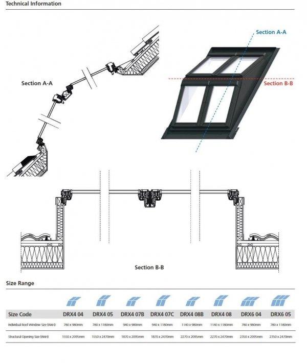 Keylite Flach-DachSystem Dachgaubensystem DRX 2x2, Fertiges Set: 2x Polar PVC Klapp-Schwingfenster PTH PFE, 2 x Polar PVC PCP Termal Schwingfenster + Basiselement, Holzgehäuse Dachgabensystem. Kombi-Eindeckrahmen, Dachgauben-Paket: Montagerahmen, Eindeck