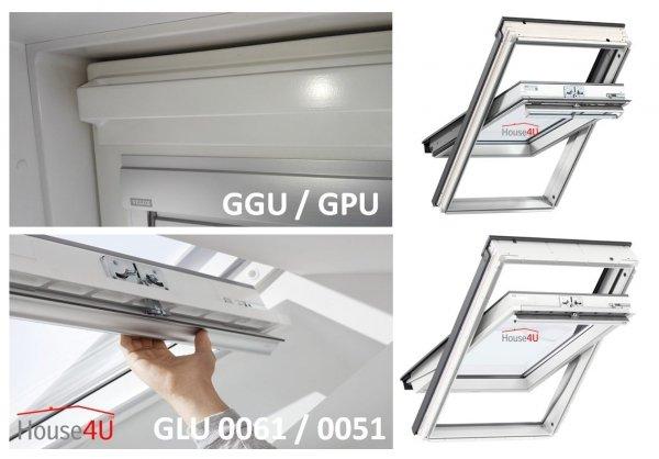 Dachfenster-SeDachfenster-Set Velux GLU 0061 3-fach-Verglasung Uw= 1,1 Schwingfenster Kunststoffdachfenster Außenrollladen Solar-Rollladen  SSL 0000, EDZ 2000 Eindeckrahmen mit BDX 2000 Thermische Isolationsset ThermoTechnology