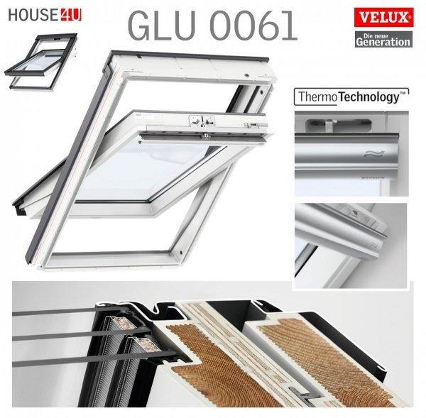 VELUX Dachfenster Kombi-Pakete GLU SD0J4 3-fach Verglasung --61 Uw=1,1, ENERGIE 3-fach Schwingfenster GGU 0061 + Eindeckrahmen EDJ 2000 mit Thermische Isolationsset