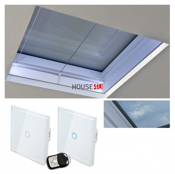 Flachdach-Fenster Festverglaste OKPOL PGX A4 mit elektrischer Milchglasscheibe, die von der Fernbedienung AP5 gesteuert wird, Gefrorenes Glas - Intelligente/SOMFY® Fernbedienung