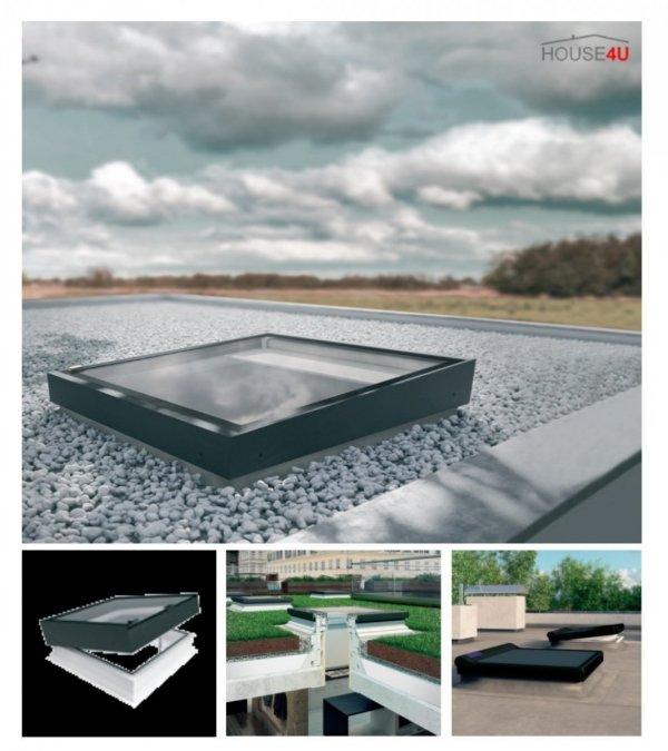 Flachdach-Fenster FAKRO Elektrisches  DEZ-B TYP Z Glas mit der Neigung U=0,95 W/m²K * Elektrisch Gesteuert  NEU