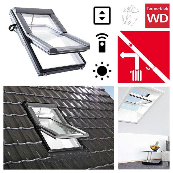 Dachfenster Roto Designo WDT R68C E_ K WD AL blueLine Schwingfenster aus Kunststoff  mit Wärmedämmblock 2-fach Standard-Verglasung Kunststoff