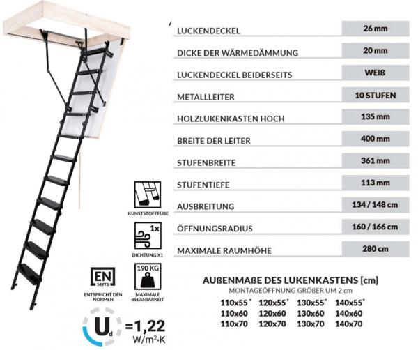 Bodentreppe OMAN SOLID TERMO Dachbodentreppe mit Metallleiter  U=1,22 max Belastung bis 210 kg weiße Öffnungsklappe Raumhöhe 280