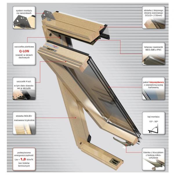 Dachfenster OKPOL ISO I22 Energiesparende Schwingfenster aus Holz klar lackiert www.house-4u.eu