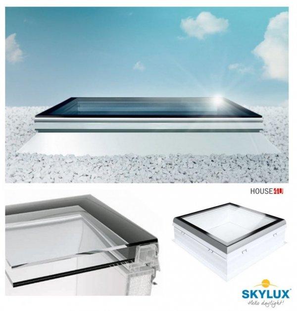 Flachdach-Fenster Skylux iWindow² PVC Festverglastes  mit Adapterkranz 20 cm mit Flansch    Ug=1,0 W/m²K/ Flachverglasung / zweischichtigem Glas / Sicherheitsglas: HR ++ / incl. Aufsetzkranz +20 cm