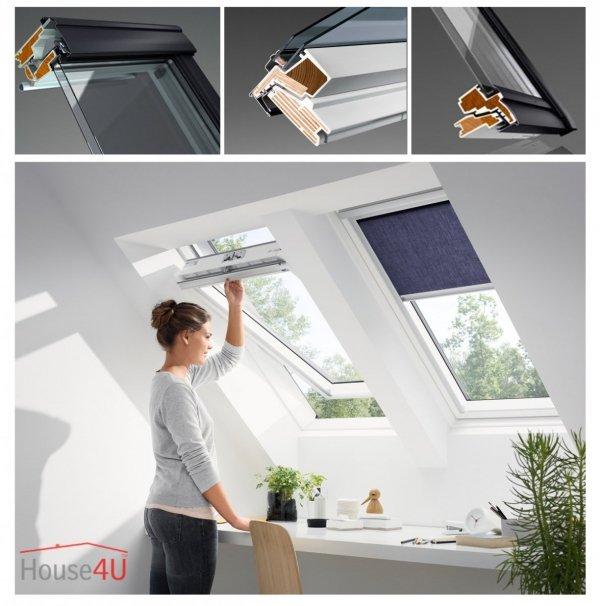 OUTLET: VELUX Dachfenster GGU 0050 SK06 55x118 Uw=1,3 Schwingfenster aus Kunststoff Alternative für THERMO-STAR + Eindeckrahmen EDZ