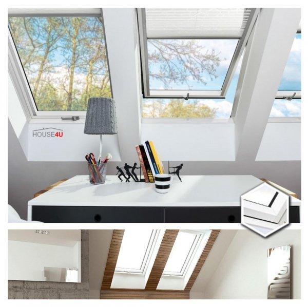 Dachfenster Fakro FTW-V U4 Schwingfenster aus weiß lackiertem Holz PU-Kunststoff-Lack (x2), Dauerlüftung V40P, topSafe-System Uw: 1,1 Polyurethan-Kunststofflack Dreifach