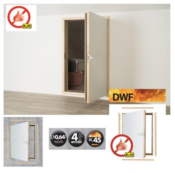 Kniestocktür Fakro DWF Feuerhemmend Kniestocktür U=0,64 W/m²K * EI145 wg EN 13501-2