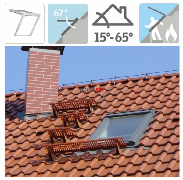 VELUX Dachfenster GTU 0070 Uw=1,3 Wohn- und Ausstiegsfenster mit Klapp-Schwing-Funktion aus Kunstoff  THERMO Aluminium