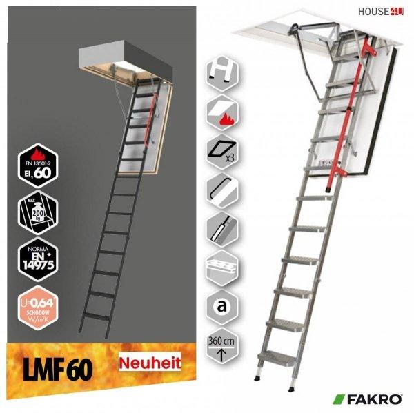 Bodentreppe FAKRO LMF 60 Feuerschutz Bodentreppe Metalltreppe  Uw=0,64 W/m²K, 60-minütigen Schutz mit Metallstufen Feuerhemmend und sicher im Brandfall - feuerhemmende Öffnungsklappe Feuerschutztreppe, für die Montage in Räumen, die besonders anfällig für