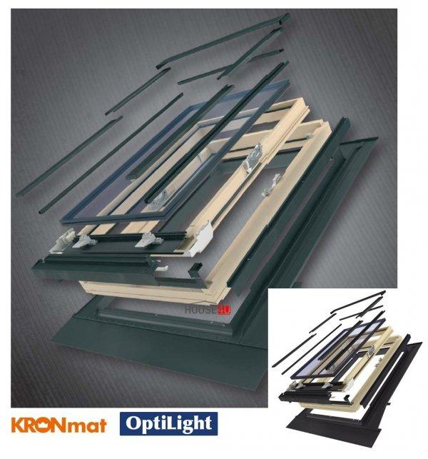 Dachfenster Optilight D Pro U4 Holz Schwingfenster  mit Eindeckrahmen (Kronmat - FAKRO Konzern) 3-fach Verglasung Uw=1,2 Energiesparende Dachfenster aus Holz klar lackiert / Boden-Griff