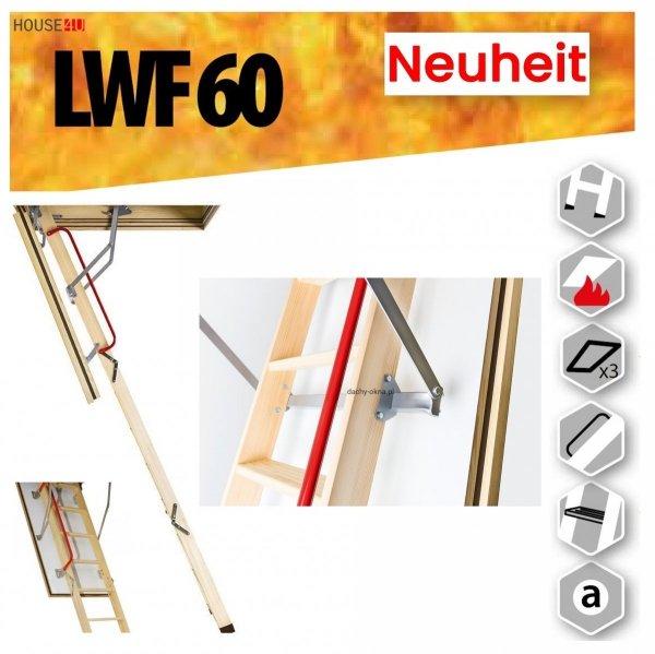 Bodentreppe FAKRO LWF 60 Feuerschutz Bodentreppe aus Holz Uw=0,64 W/m²K, Feuerhemmend und sicher im Brandfall - feuerhemmende Öffnungsklappe Feuerschutztreppe, für die Montage in Räumen, die besonders anfällig für Brände sind _ house-4u.de