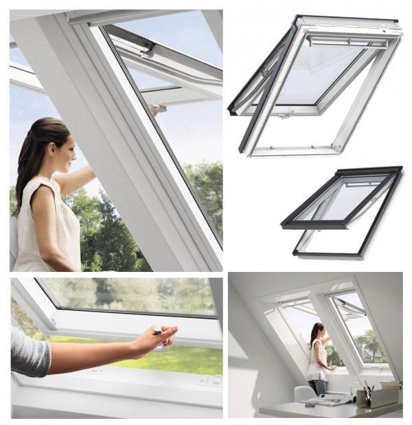 Dachfenster VELUX GPU 0050 Klapp-Schwingfenster Kunststoff-Fenster mit Riesen-Öffnungswinkel Standard Verglasung www.house-4u.eu