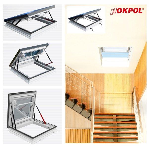 Flachdach-Ausstiegfenster OKPOL PGM A1 manuell betätigt ohne Kuppel für flache Dächer von 2° bis 15°, Uw= 1,3