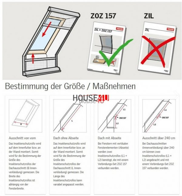 Insektenschutzrollos VELUX ZIL 8888 Fliegengitter Manuelle Bedienung