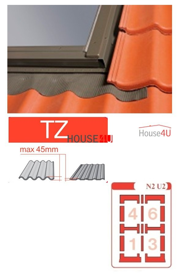 Kombi-Eindeckrahmen Optilight TZ-N2 U2 Eindeckrahmen - für profilierte Eindeckmaterialien / Profilbeläge bis zu 4,5 cm hoch Profil www.house-4u.eu