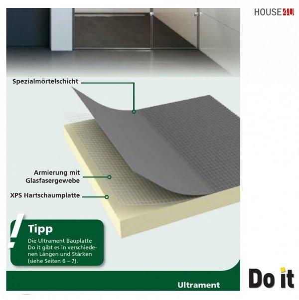Bauplatte Ultrament Do-it 120 x 60 cm Stärke: 30 mm Trockenbau XPS Glasfasergewebe, Schimmelresistent & Wasserresistent, Extrem leicht, für die Anwendung im Innen- und Außenbereich, Wedi Byggeplade Kreativbauplatte