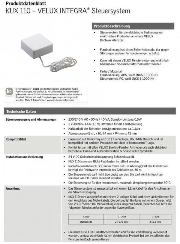 Velux KUX 110K INTEGRA®  Zubehör für VELUX INTEGRA System, Bedienungsmöglichkeiten