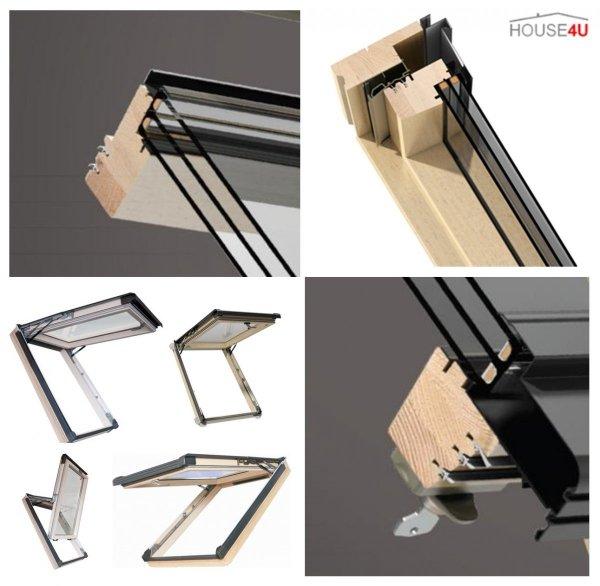 Dachfenster Kipp-Schiebefenster Okpol ISK I3 3-fach Energiesparende Holz klar lackiert Anti-Kondensat-Glas