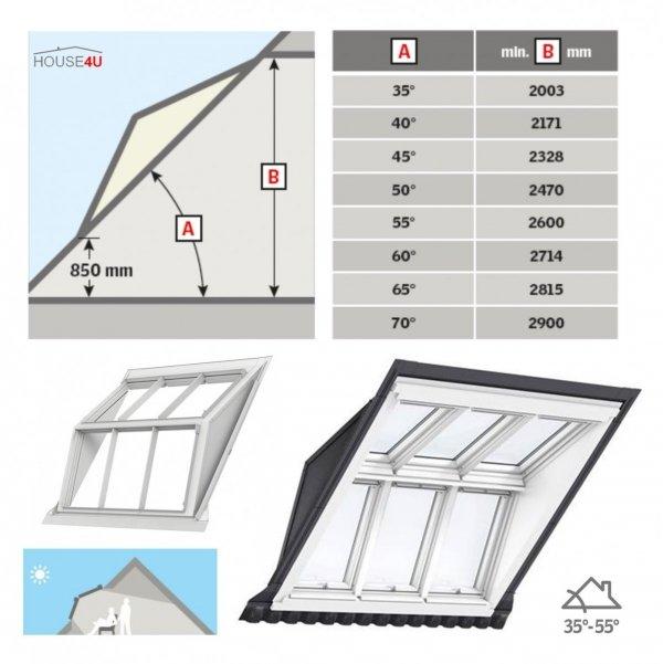 VELUX EBW 2032BK MK06 Kombi-Eindeckrahmen für gaubenähnliche Lösungen Aluminium VELUX Lichtlösung PANORAMA  Basiselement + GGU/GPU 0066 ENERGIE-Variante Polyurethan