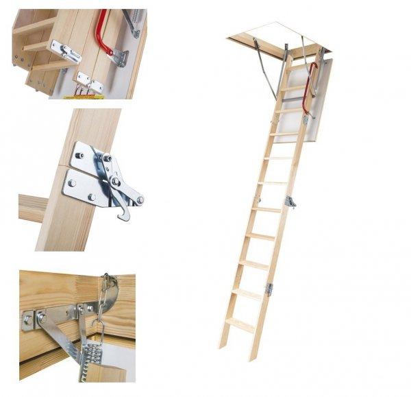 Dachbodentreppe OLE-B MINI  4-teilige 60x94  70x94 aus Holz U=1,13 weiße Öffnungsklappe Holzbodentreppe Dachbodentreppe aus  Handlauf + Bodenschutzkappen