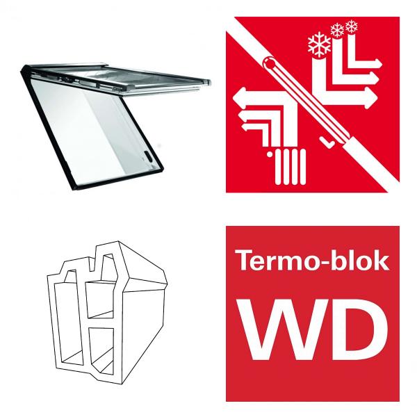 Dachfenster Roto Designo RotoComfort i89P WD elektrisches Klapp-Schwingfenster blueTec Plus aus Kunststoff mit Wärmedämmblock