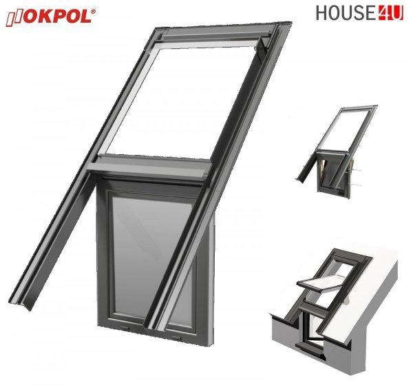 OKPOL UKG Eindeckrahmen für Kniestockfenster, für Kniegelenke (PVC) für Flach- oder Profildächer bis 9 cm Höhe in Verbindung mit einem Dachfenster