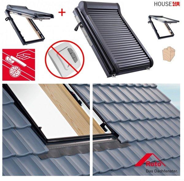 Dachfenster-Set Roto R88C H200 + ZRO E Holz Schwingfenster mit Elektro Außenrollladen