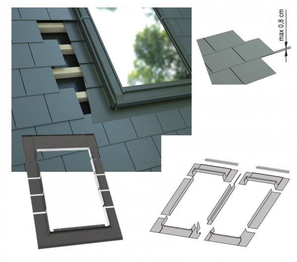 Kombi-Eindeckrahmen-Set Okpol KX2L für flache Biberschwanzeindeckungen www.house-4u.eu
