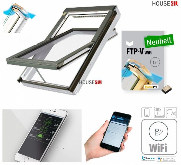 Dachfenster Fakro FTU-V 3 Wifi USchwingfenster Holz weiß lackiert wie Kunstoff erhöhter Feuchteresistenz