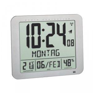 TFA 60.4516 zegar elektroniczny ścienny biurowy sterowany radiowo DCF z termohigrometrem duży 25 cm