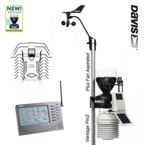 Davis Vantage Pro2 Plus stacja meteorologiczna bezprzewodowa półprofesjonalna czujniki promieniowania osłona wentylowana