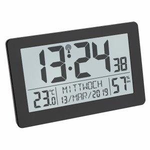 TFA 60.2557 zegar elektroniczny ścienny biurowy sterowany radiowo z termometrem i higrometrem podświetlany