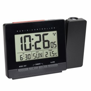 TFA 60.5016 budzik biurkowy zegar elektroniczny sterowany radiowo z termometrem i projektorem
